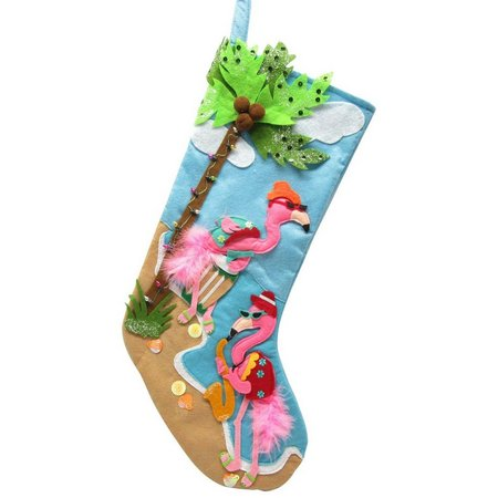 Brighten the Season Flamingo Palm Tree Stocking