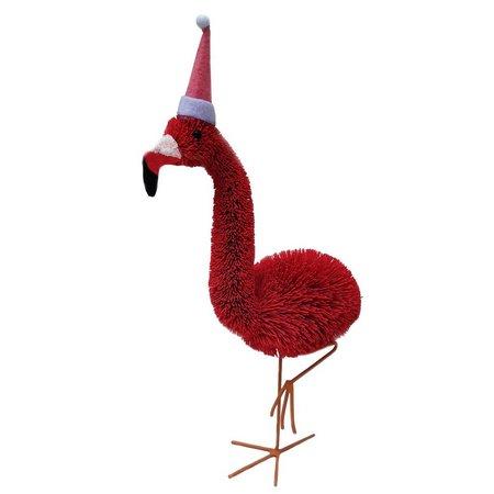 Brighten the Season Flamingo Bottle Brush Figurine