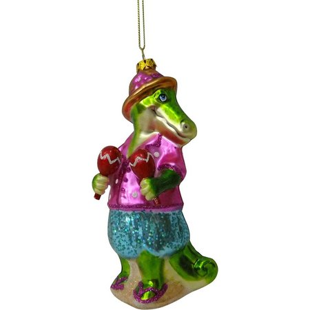 Brighten the Season Glass Maracas Gator Ornament