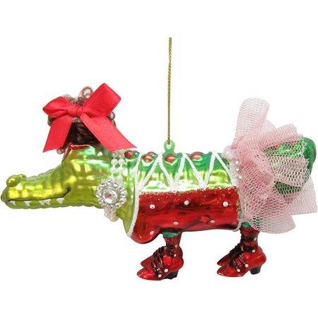 Brighten the Season Glass Dressy Gator Ornament