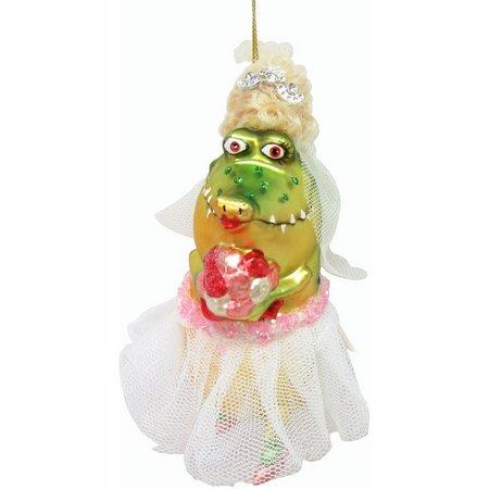 Brighten the Season Glass Gator Bride Ornament
