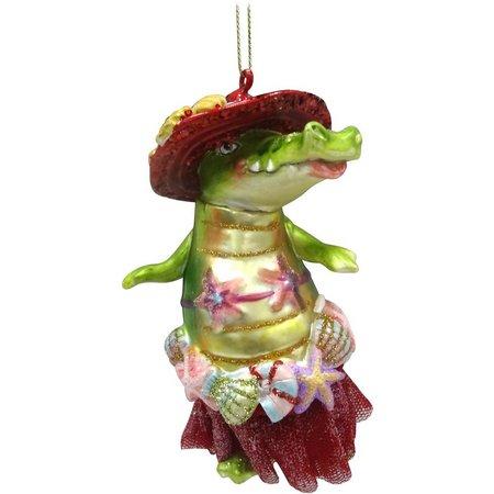 Brighten the Season Glass Shell Alligator Ornament