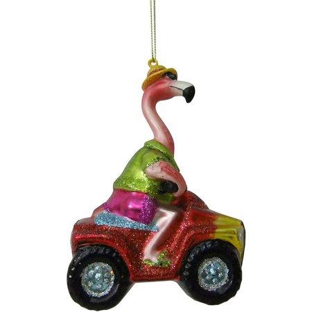 Brighten the Season Glass Flamingo Drive Ornament