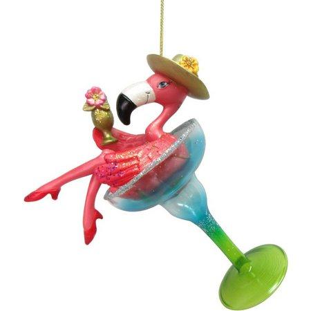 Brighten the Season Flamingo in Martini Ornament