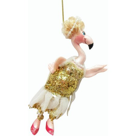 Brighten the Season Gold Dress Flamingo Ornament