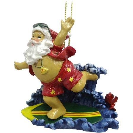 Brighten the Season Santa on Surfboard