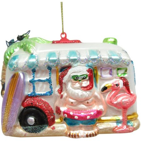 Brighten the Season Beach Bus Santa Ornament