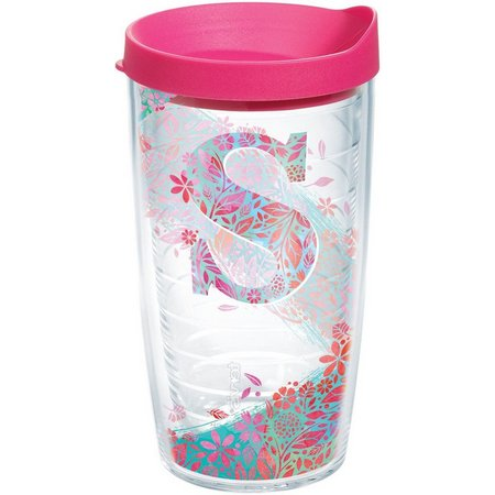 Tervis 16 oz. Initial ''S'' Floral Tumbler