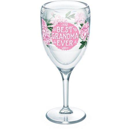 Tervis 9 oz. Grandma Pink Peony Wine Glass