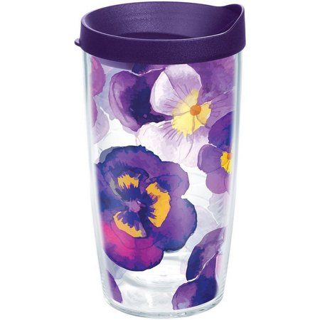 Tervis 16 oz. Watercolor Pansy Travel Tumbler
