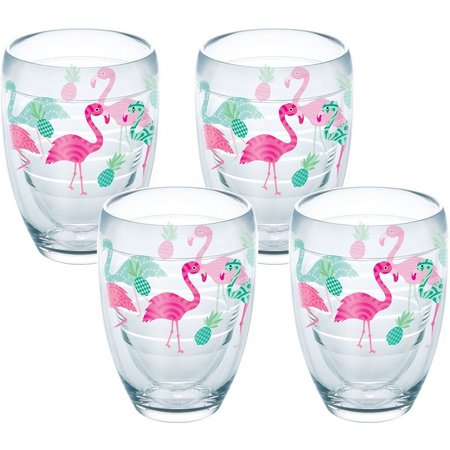 Tervis 9 oz 4-pc. Flamingo Stemless Wine Glass