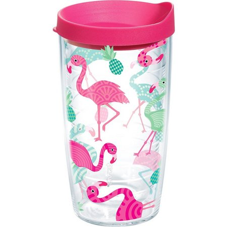 Tervis 16 oz. Flamingo Pattern Travel Tumbler