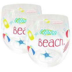 Tropix 2-pk. Beach Stemless Wine Glasses