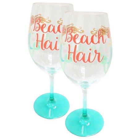 Tropix 2-pc. Beach Hair Wine Glass Set