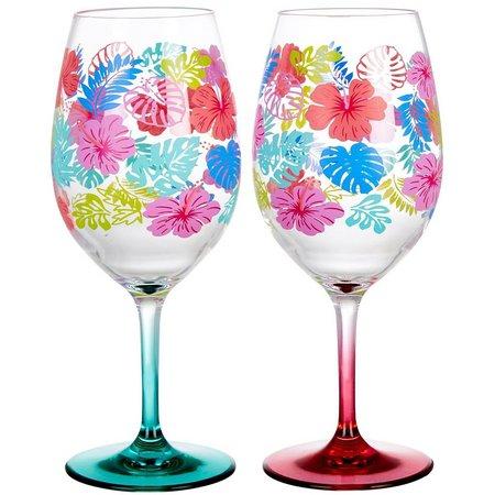 Tropix 2-pc. Tropical Floral Wine Glasses
