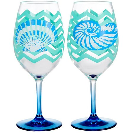 Tropix 2-pc. Chevron Seashell Wine Goblet Set