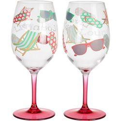 Tropix 2-pc. Live, Laugh, Lounge Wine Goblet Set