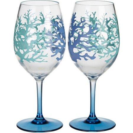 Tropix 2-pc. Coral Wine Goblet Set