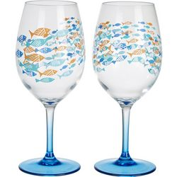 Tropix 2-pc. School Of Fish Wine Goblet Set