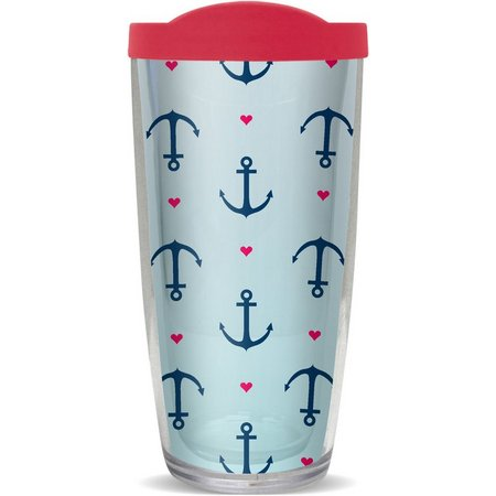 COVO 16 oz. Anchors & Hearts Travel Tumbler