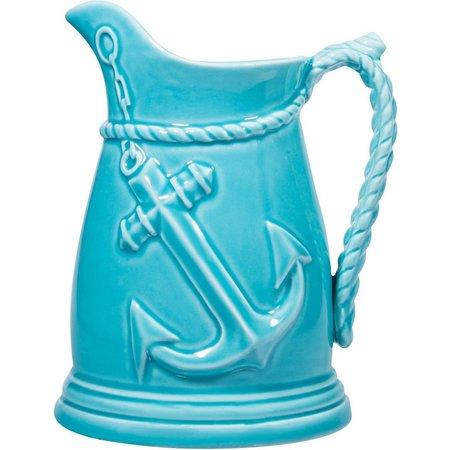 Home Essentials Aqua Anchor Embossed Pitcher