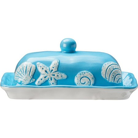 Global Amici Light Blue Sea Life Butter Dish