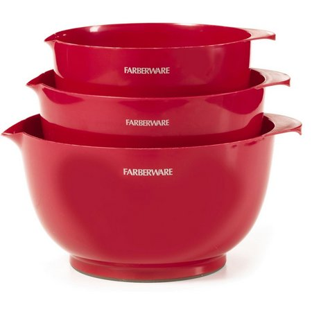 Farberware Classic 3-pc. Red Nesting Mixing Bowls