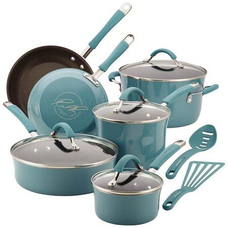 Rachael Ray 12-pc. Agave Blue Enamel Cookware Set