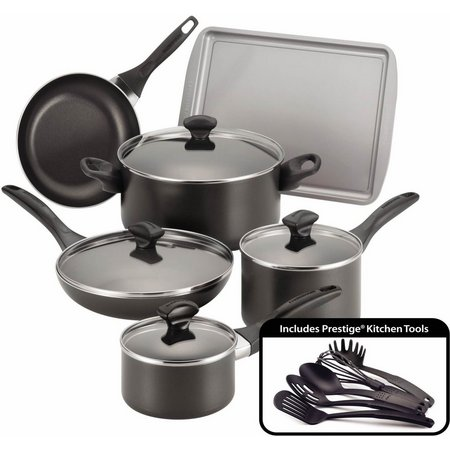 Farberware 15-pc. Nonstick Black Cookware
