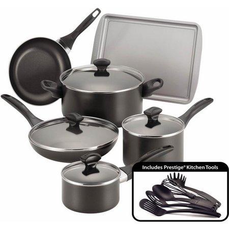 Farberware 15-pc. Nonstick Black Cookware