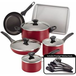Farberware 15-pc. Nonstick Red Cookware Set