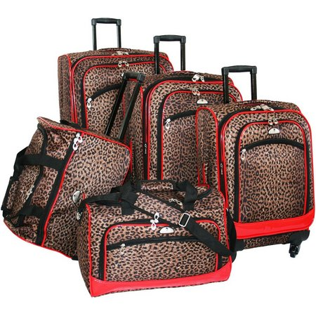 American Flyer 5-pc. Leopard Print Luggage Set