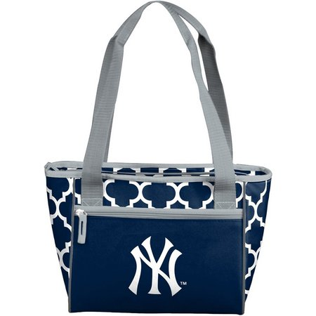 NY Yankees Quatrefoil 16 Can Cooler by Logo