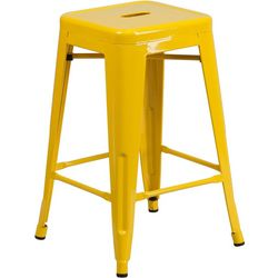 Flash Furniture 24'' Metal Square Seat Stool