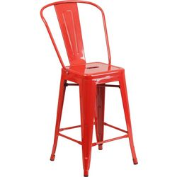 Flash Furniture 24'' Metal Stool With Back