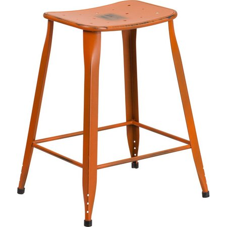 Flash Furniture 24'' Distressed Metal Stool