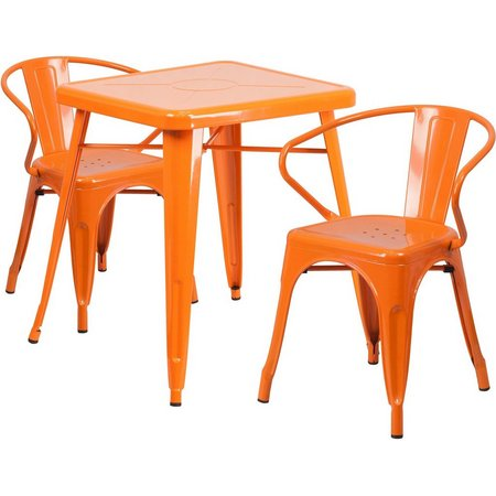 Flash Furniture 3-pc. Metal Arm Chair Table Set