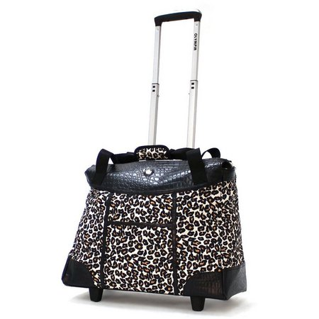 Olympia Deluxe Fashion Cheetah Rolling Tote