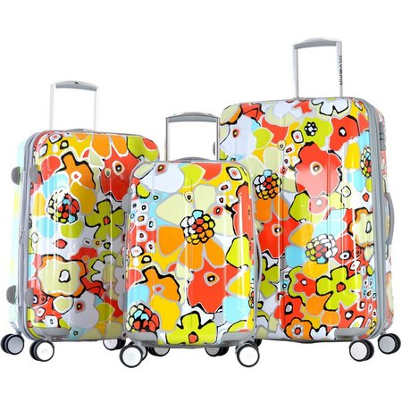 Olympia Luggage Blossom II 3-pc. Aqua Luggage Set