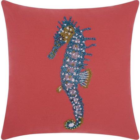 Mina Victory Beaded Seahorse Outdoor Throw Pillow