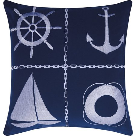 Mina Victory Nautical Grid Outdoor Throw Pillow