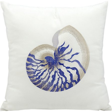Mina Victory Blue Conch Outdoor Throw Pillow