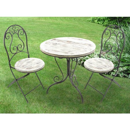 Jordan Wrought Iron & Wood Distressed Bistro Set