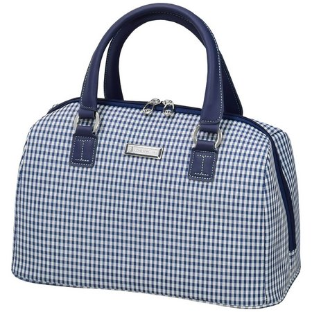 London Fog Hampton Navy Gingham Satchel Bag