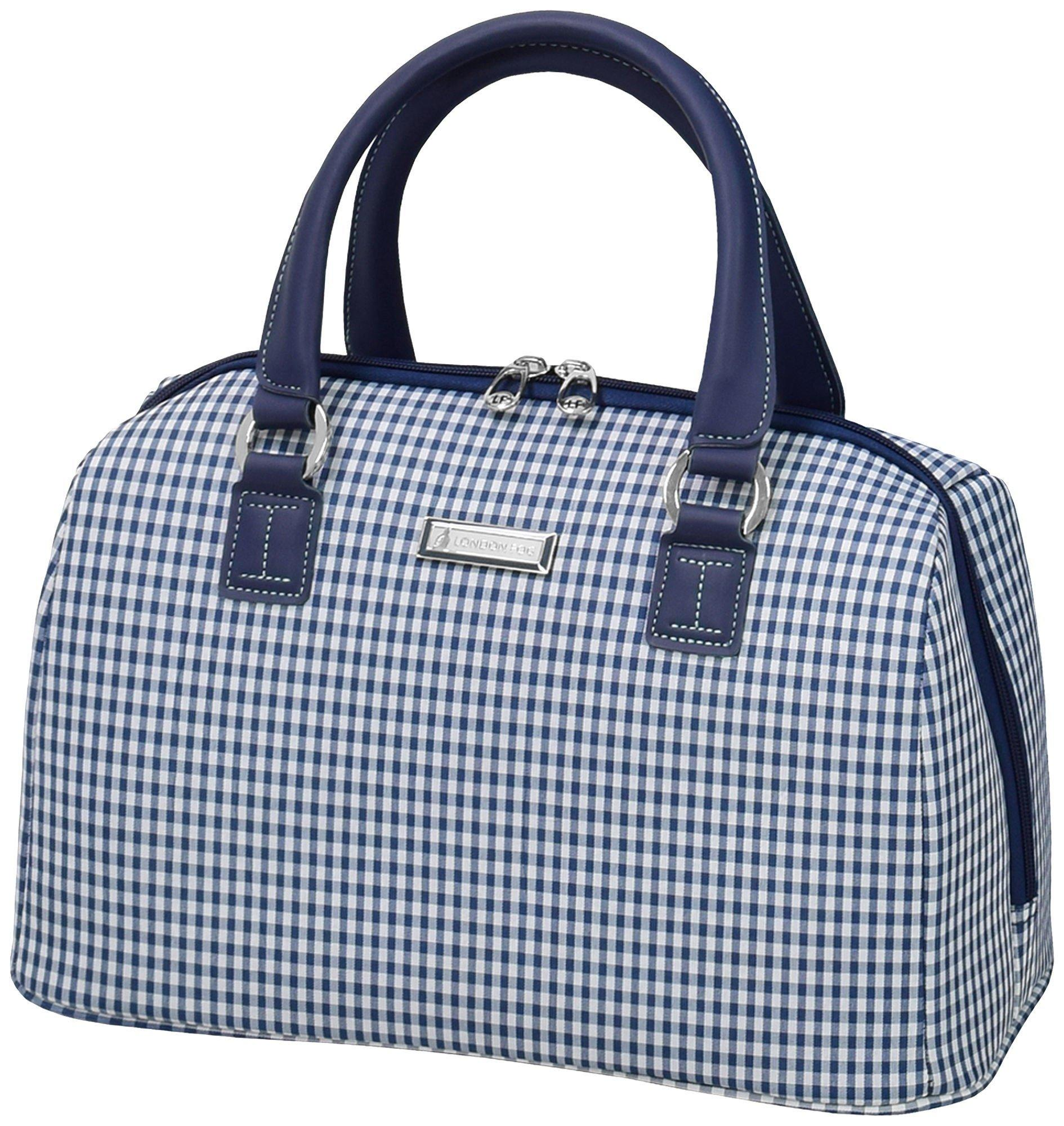 london fog hampton navy gingham satchel bag - London Fog Luggage