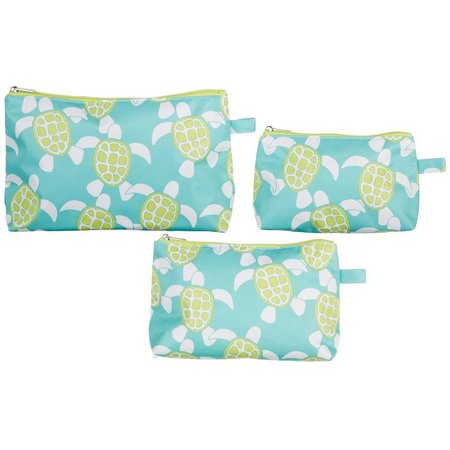 Twist of Color Sea Turtle 3-pc. Cosmetic Bag