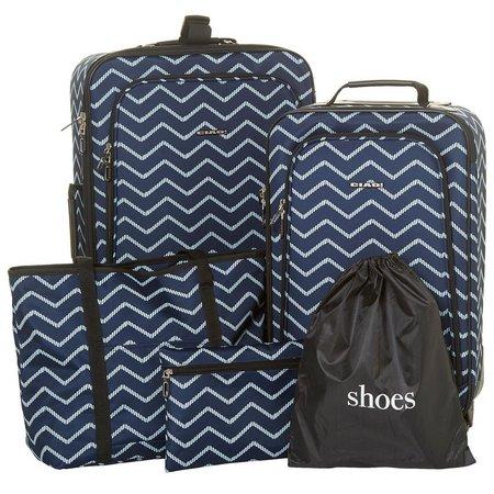 New! CIAO! 5-pc. Chevron Print Luggage Set
