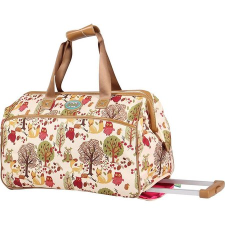 Lily Bloom Forest Owl Wheeled Duffel Bag