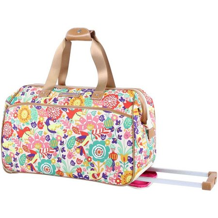 Lily Bloom Tulips & Tweets Rolling Duffle Bag