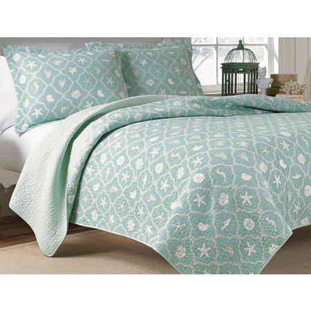 Laura Ashley Hyannis Seafoam Quilt Set